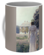 Woman In Front Of A Manor Coffee Mug by Joana Kruse