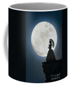 Woman In Historical Clothing On A Cliff With Full Moon Coffee Mug