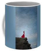 Woman In Red Dress On A Clifftop Coffee Mug