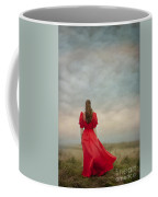 Woman In Red On Moorland Coffee Mug