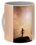 Woman On A Mountain Summit Coffee Mug