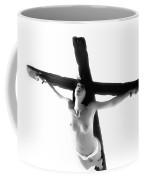 Woman On Crucifix Black And White I Coffee Mug