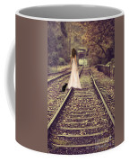 Woman On Railway Line Coffee Mug