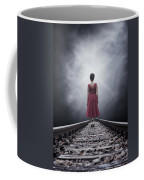 Woman On Tracks Coffee Mug