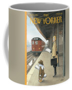 Woman On Train Platform Looking At Easter Bunny Coffee Mug
