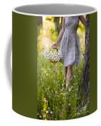 Woman Picking Flowers In A Wild Flower Meadow Coffee Mug