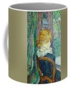 Woman Sitting In A Garden Coffee Mug