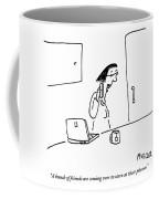 Woman Speaks Into Her Cellphone Coffee Mug