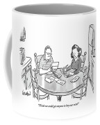 Woman Speaks To Man As They Do Bills At A Table Coffee Mug