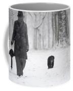 Woman Walking In The Snowy Forest Coffee Mug
