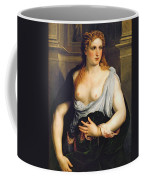 Woman With A Green Coat Coffee Mug