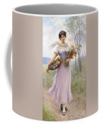 Woman With Flowers Coffee Mug