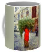 Woman With Ker Leaves India Rajasthan Jaisalmer Coffee Mug