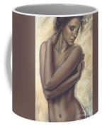 Woman With White Drape Crop Coffee Mug by Zorina Baldescu