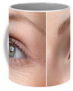 Womans Eye With And Without Wrinkles Coffee Mug