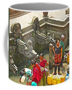 Women Get Bagmati River Holy Water From Ornate Fountains In Patan Durbar Square In Lalitpur-nepal  Coffee Mug
