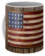 Wooden American Flag On Wood Wall Coffee Mug