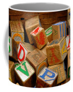 Wooden Blocks With Alphabet Letters Coffee Mug by Amy Cicconi