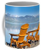 Wooden Deckchairs Overlooking Scenic Lake Laberge Coffee Mug