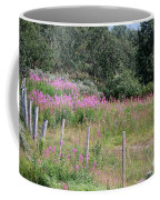 Wooden Fence And Pink Fireweed In Norway Coffee Mug