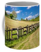 Wooden Fence In Green Landscape Coffee Mug