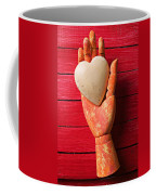 Wooden Hand With White Heart Coffee Mug by Garry Gay