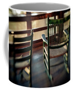Wooden Rocking Chairs On A Deck Coffee Mug