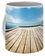Wooden Surface Sky Background Coffee Mug