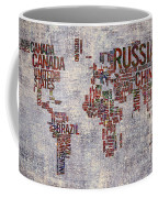 World Map Typography Artwork Coffee Mug