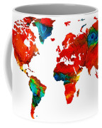 World Map 12 Colorful Red Map By Sharon Cummings Painting By