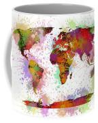 World Map Digital Watercolor Painting Coffee Mug
