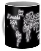 World Map In Text Neon Light Coffee Mug