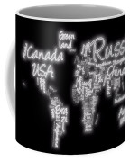 World Map In Text Neon Light Coffee Mug