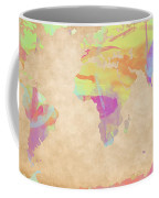 World Map Pastel Watercolors Coffee Mug