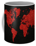 World Map Red Fabric On Dark Leather Coffee Mug