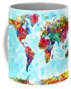 World Map Spattered Paint Coffee Mug