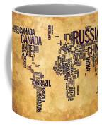 World Map Typography 6 Watercolor Painting Coffee Mug