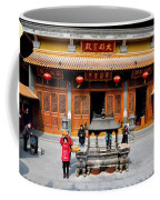 Worshipers In Urn Courtyard Of Chinese Temple Shanghai China Coffee Mug