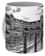 Yacht And Beach Club After The Rain In Black And White Walt Disney World Coffee Mug