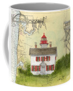 Yaquina Bay Lighthouse Or Nautical Chart Map Art Coffee Mug