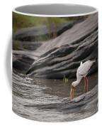 Yellow-billed Stork Fishing In River Coffee Mug