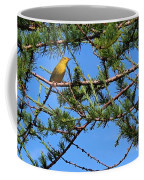 Yellow Bird In A Juniper Tree Coffee Mug
