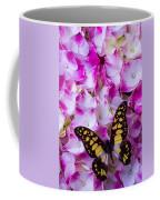 Yellow Black Butterfly On Hydrangea Coffee Mug