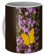 Yellow Butterfly On Pink Flowers Coffee Mug
