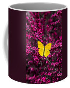 Yellow Butterfly On Red Flowering Bush Coffee Mug