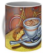 Yellow Dutch Bicycle With Cappuccino And Biscotti Coffee Mug