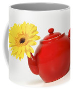 Yellow Flower In A Red Teapot Coffee Mug
