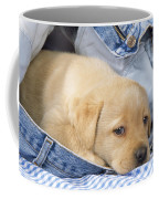 Yellow Labrador Puppy In Jeans Coffee Mug