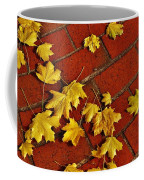 Yellow Leaves On Red Brick Coffee Mug