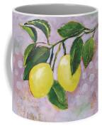 Yellow Lemons On Purple Orchid Coffee Mug by Jen Norton